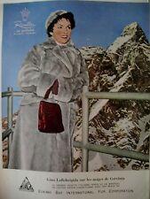 PUBLICITE DE PRESSE RIVELLA FOURRURE MILANO GINA LOLLOBRIGIDA FRENCH AD 1955