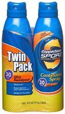 Coppertone Sport Spf 30 Continuous Spray Clear Twin Pack, 6-Oz + Makeup Sponge