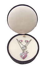 BNIB Playboy Necklace & Ear-Rings set With Diamonte Detail