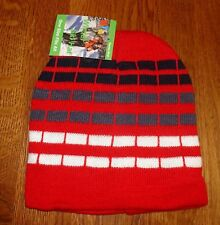 Red White Checked Striped Beanie Knit Cap Winter Hat