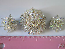 Alice Caviness Crystal Beaded Brooch and Earring Set Vintage