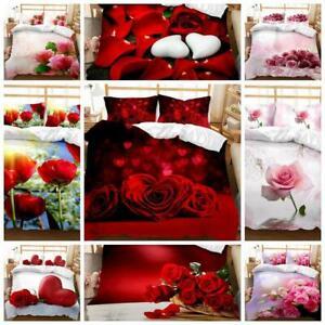 Flowers Bedding Set Rose & Love Quilt Duvet Cover Single Double Size Anniversary
