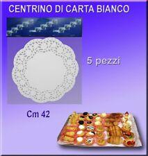 CENTRINO IN CARTA 42 CM SOTTO TORTA BIANCO PIZZO SET DA 5 PEZZI