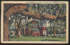 Postcard BILOXI Mississippi/MS  Ring in the Oak Tree & Redeemer Church 1930's