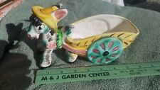 Vintage Donkey with Yellow Pink Green Cart Planter Home Decor