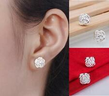 HOT Women 925 Sterling Silver Crystal Rhinestone Ear Stud Vintage Earrings