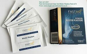 2xFastaid Advanced Clear Gel Cushion Blister Plasters Pack of10Reduces Pain Fast