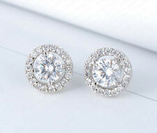 Sterling Silver and Cubic Zirconia Round Halo Pave Bridal Stud Earrings