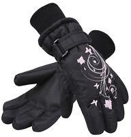 Girls Kids Child Waterproof Butterfly Warm Winter Sports Snow Ski Gloves Mittens