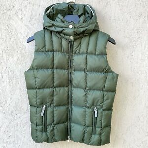 Bogner Fire + Ice Quilted Down 600 Hooded Puffer Vest US 6 S Green