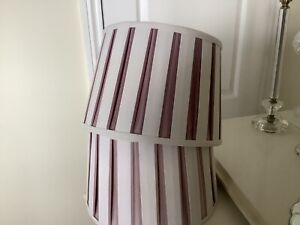 2 Laura Ashley  Lampshades Linen Fabric Ivory & Amethyst Lilac Stripe