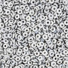 Czech Glass O Bead® Donut/Ring Beads Chalk White Labrador Matte 8.1 gram (L73/6)