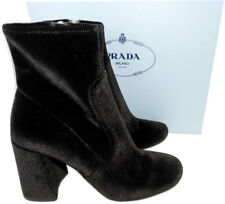 $850 Prada Black Stretch Velvet Fashion Ankle Boots Chunky Heel Booties 37- 6.5