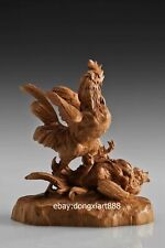 23 cm Chinese Boxwood Masterwork cock rooster fight Animal wood art sculpture