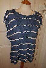 ladies LAURA ASHLEY blue stripe tunic top size 20 stretch linen