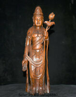 "16.8"" Old China Boxwood Hand Carved Kwan-Yin Guan Yin Goddess Lotus Leaf Statue"