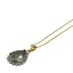 9ct Yellow White Gold Pear Shape Mystic Topaz Diamond Halo Pendant 18in Chain