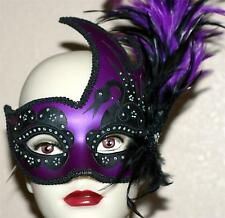 VENETIAN Mardi Gras Masquerade Ball Women PURPLE BLACK SWAN MASK w/ FEATHERS New