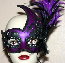VENETIAN Mardi Gras Masquerade Ball Women PURPLE BLACK SWAN MASK w/ FEATHERS New