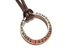 Rune Ring Anhänger auf Braunem Schnur Halskette Viking Norse Runischer Alphabet