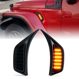 Front Fender LED Side Marker Light Turn Signal Lamp for 2018-2021 Jeep Wrangler