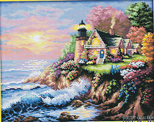Seaside Home Landscape 14CT counted cross stitch kit 45cm x 38cm fabric. CSK0027