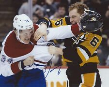 Jamie Oleksiak Signed 8x10 Fight Photo Pittsburgh Penguins Autographed COA