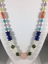 """Gorgeous Natural Coral,Amethyst,Jade,Serpentine & Quartz Beaded Necklace,28"""" New"""