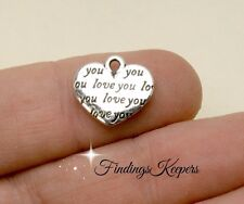 12 Silver Heart Charms, Love You Charm, Double Sided 14 x 12 mm -  127