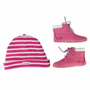 Girl's Timberland Infant Crib Boots & Hat Set in Pink