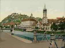 Steiermark. Graz. Schlossberg vom Hotel Florian aus. Steiermark. Graz. Schlossbe