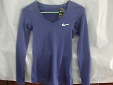 "Nike Women's Sz XS-Lng Slv Top W/""Dry Fit"" Fabric-Prple W/Wht Logo-NWT-L@@K"