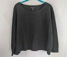 Eileen Fisher Women's Medium Gray Sweater 100% Merino Wool Short 3/4 Sleeve