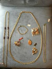 Lot de bijoux Vintage En Plaque Or Collier Broches Bracelet Chaîne Porte Photo