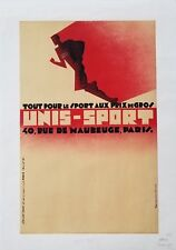 Mid Century Modernist Style French Unisport Sporting Goods Lithograph 1946