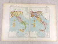 1888 Antik Französisch Map Of 10th 11th Jahrhundert Italien Historische Reich