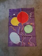 """Celebration House Flag, Purple With Balloons 40"""" x 27"""""""