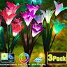 1/3x Solarleuchte 4 LED Garten Solar Licht Lilie Blumen Leuchte Landschaft Lampe