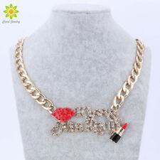 Red Sexy Lip And Enameled Lipstick Kiss Make Up Women Gold Chain Necklace