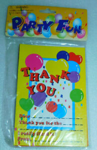 Party Fun Thank You Cards Invitations Envelopes 6 Set Supplies Balloons Presents
