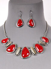 Red Bead Stone Silver Tone Statement Necklace Earrings Fashion Jewelry Set
