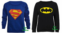 New Women's Ladies Superman Batman Sweatshirt Sweater Jumper Top Size 8-14