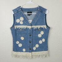 NWT Boho Crochet Fringe Denim Vest - Women's Size 8