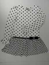 Dollie & Me Girls 14 Dress White With Black Dots Pleated Embellished Long Sleeve