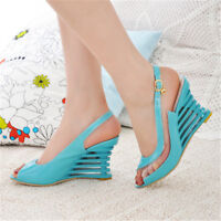 Womens High Mid Heel Wedges Shoes Peep Toe Casual Party Pumps Sandals Slingback