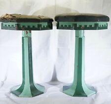 Set of 2 Art Deco Green Porcelain Stools - Eloise Psychiatric Hospital, Michigan