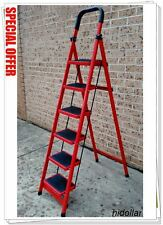 STEEL FRAME 6 WIDE TREAD STEP LADDER 184cm RUBBER GRIP FOLDABLE SIX STEP A FRAME