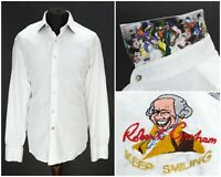 Mens Robert Graham Keep Smiling White Shirt Cotton Long Sleeve Button Size XL