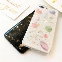 Bling Glitter Space Planet TPU Silicon Phone Case Cover For iPhone X 6 7 8 Plus