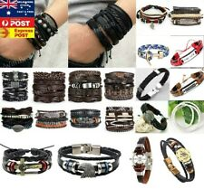 Mens Leather Bracelet Men's Bracelet  Rope Adjustable Wristband Multi-style